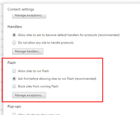 Disableenable flash pdf settings 4 scroll until you find the flash settings ccuart Images